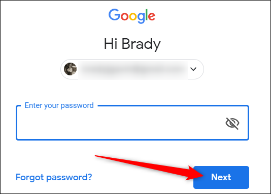 "Enter your password, then click ""Next."""