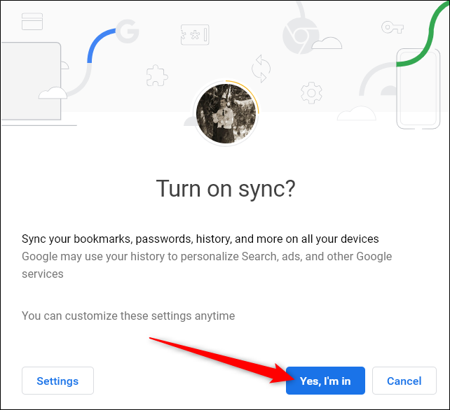 Confirm you want to turn on syncing