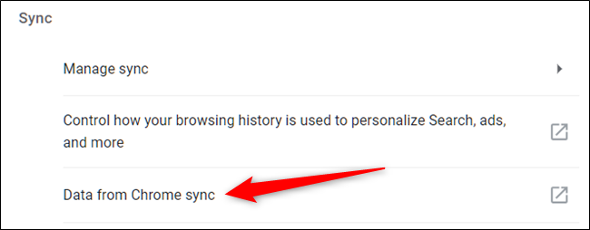 "Click ""Data from Chrome Sync"""