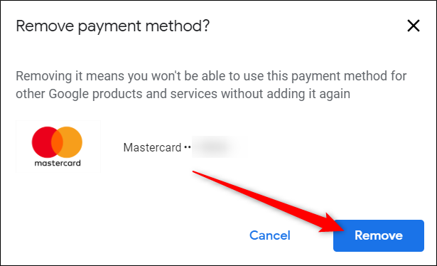 Confirm the deletion of this card and click Remove