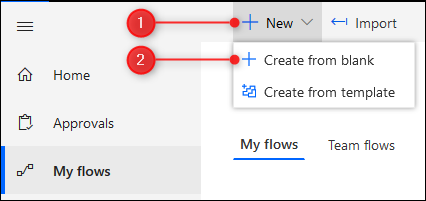 The New > Create from blank option