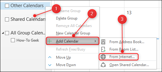 The Add Calendar From Internet option