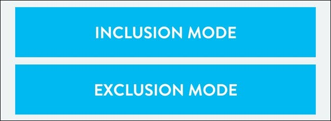 Wink app showing Exclusion mode button