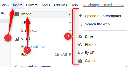 "Click ""Insert,"" click ""Image,"" and then choose the location of your image."