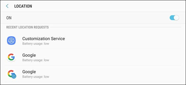 Android locations settings options