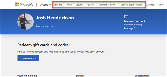 Microsoft Account Page