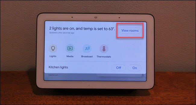 Google Home Hub command center with box around View Rooms button
