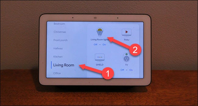 Google Home dialog with arrows pointing to living room and light.