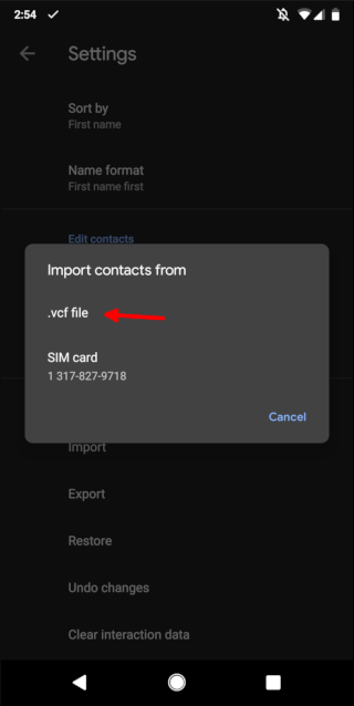 Importing a VCF file in Android contacts