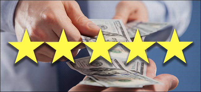 Money exchanging hands with 5 Stars