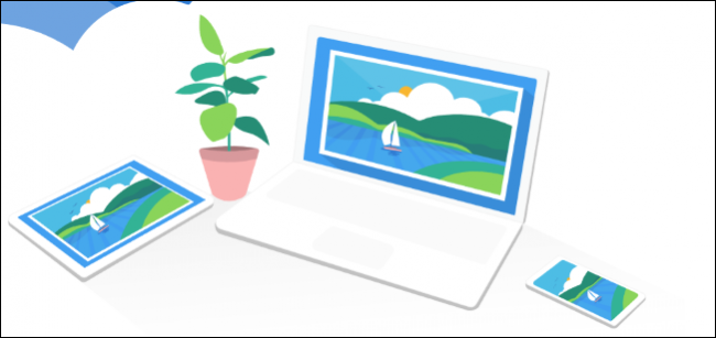 OneDrive concept art running on laptop, tablet, and smartphone