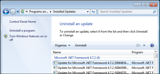 Uninstalling a Windows update on Windows 7