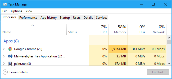 Processes tab in Windows 10's Task Manager