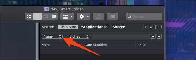 macOS smart folder options