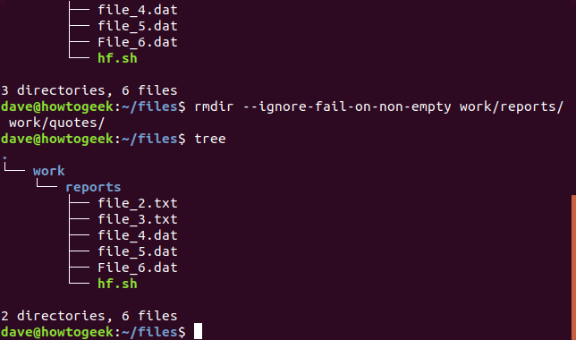 rmdir with --ignore-fail-on-non-empty option