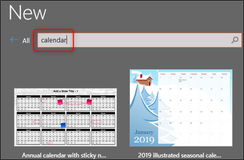 search calendar templates in gallery