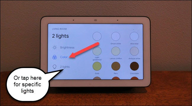 Google Home Hub living room lights with call out to colors and 2 lights options