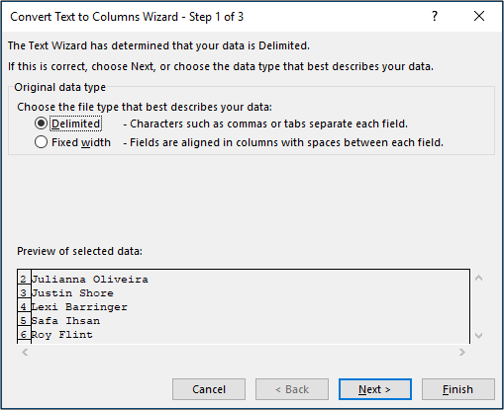 Step 1 of the Text to Columns wizard