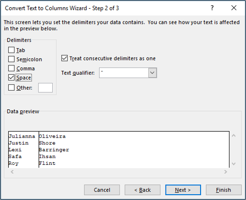 Step 2 of the Text to Columns wizard