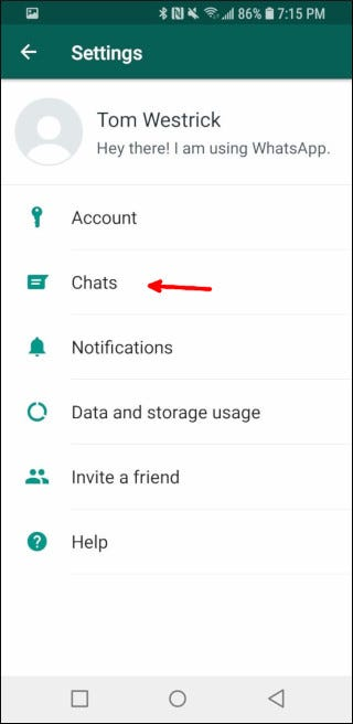 WhatsApp's Settings screen