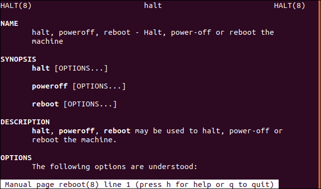 man page for halt command
