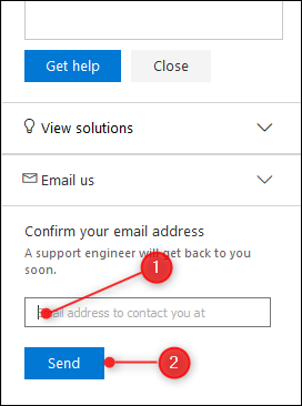 The Email address field and Send button