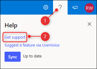 The Get support link
