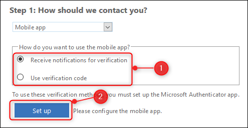 Radio buttons to choose the contact method