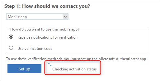 """The """"Checking activation status"""" message"""