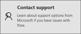The Contact support option