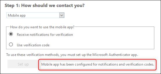 The successful MFA configuration message