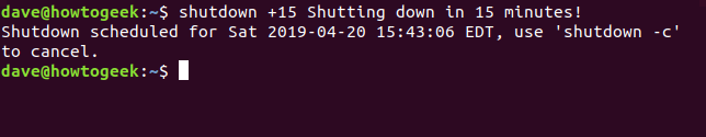 shutdown command +15 message