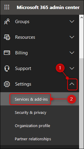 """The """"Services & add-ins"""" option in the Admin menu"""
