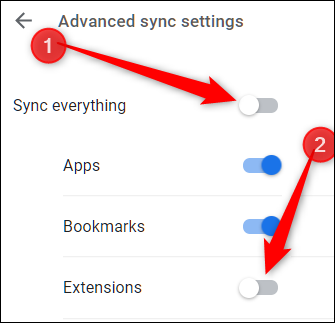 First, untoggle Sync Everything, then untoggle the Extensions setting