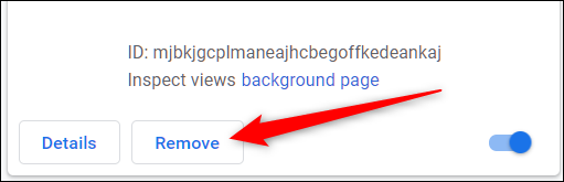 Locate the extension and click Remove