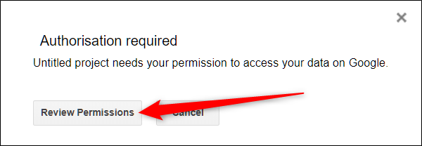 Click Review Permissions to view the requested permissions