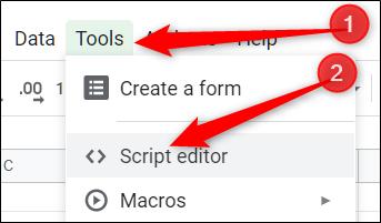 Haga clic en Herramientas, luego haga clic en Editor de secuencias de comandos