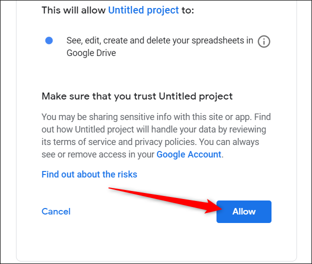 Review the permissions, then click Allow