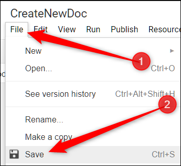 click File, then click on Save to save your script