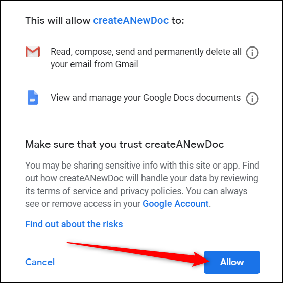 Review the new permission and click Allow
