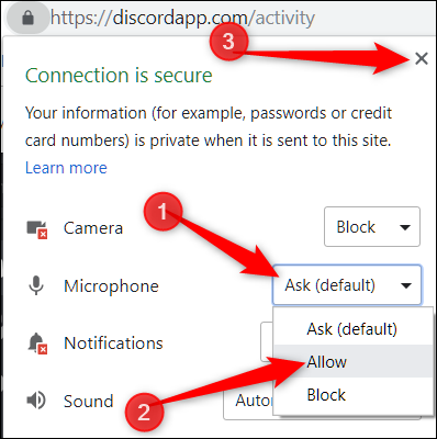 Click the drop down menu of a device, change the permissions, then click the X