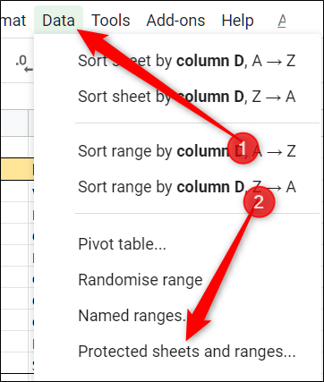 click Data, then on Protect Sheets and Ranges