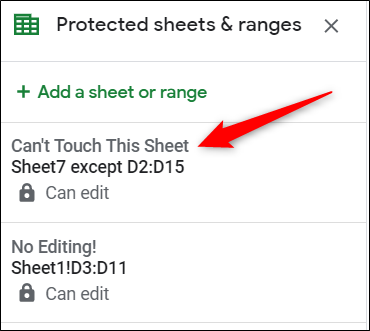 Click the protected range rule from the pane on the right