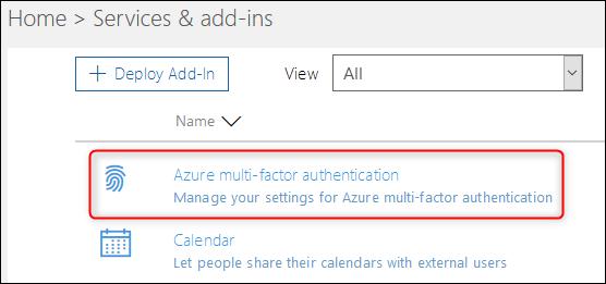 "The ""Azure multi-factor authentication"" option"