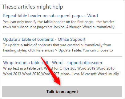 """Some possible help articles and the """"Talk to an agent"""" button"""