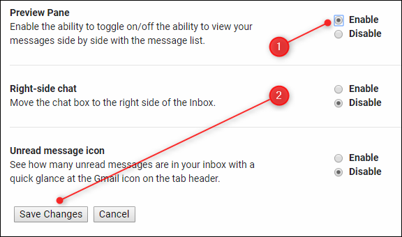 Preview Pane radio buttons