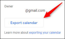 "The ""Export calendar"" button"