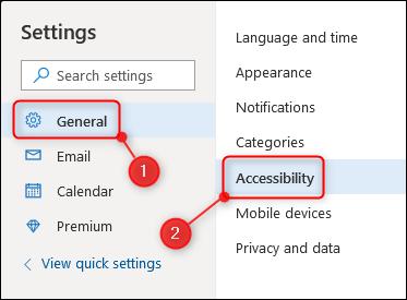 La opción de accesibilidad