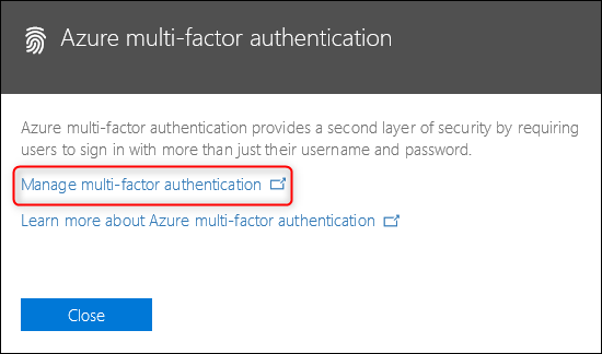 "The ""Azure multi-factor authentication"" link"