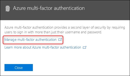 "The ""Azure multi-factor authentication"" link"